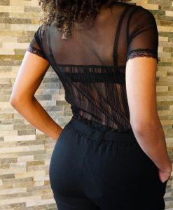 Zwarte doorzichtige top met patroon