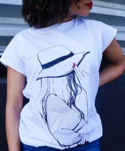 Wit t-shirt met opdruk