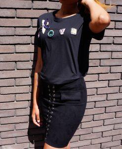 Zwart rokje met t-shirt 1