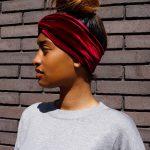 Rode velvet haarband