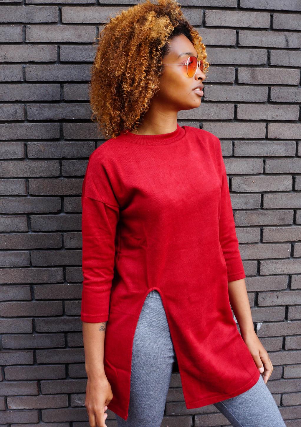 Rode trui met split herfst