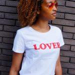 Wit t-shirt met opdruk Lover