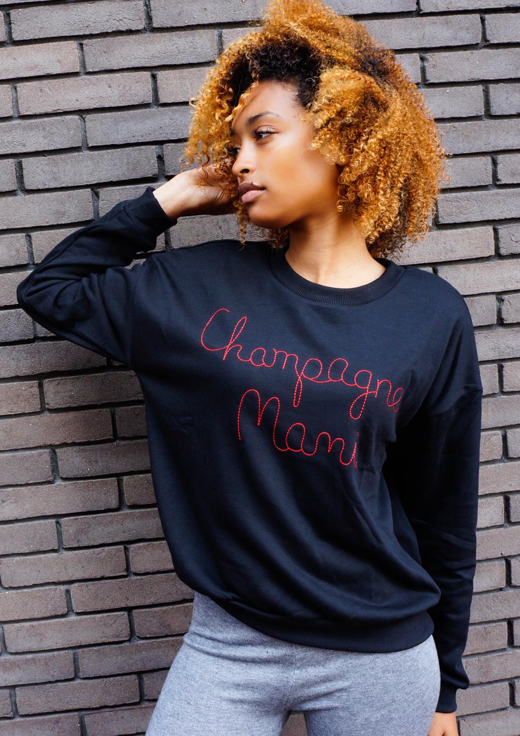 Zwarte trui met tekst champagne mami